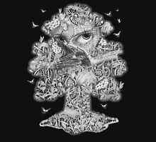 Heliotroped with Tattoo and Guest Poet - Tree'd and Butterflied Unisex T-Shirt