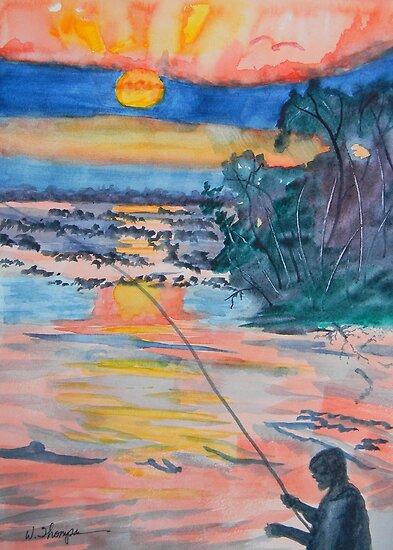 Fishing at Dawn on Orange Lake by Warren  Thompson