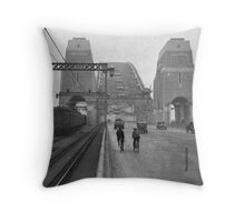 First cars and trains across Sydney Harbour Bridge, March 1932 Throw Pillow
