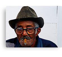 Old Cuban man & cigar, Trinidad, Cuba Canvas Print