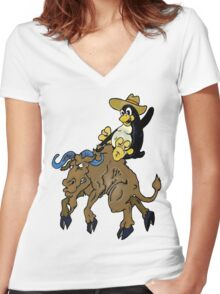 Bronco Tux Gnu Women's Fitted V-Neck T-Shirt