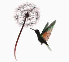 Dandelion and Little Green Hummingbird One Piece - Short Sleeve
