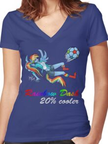 20% Cooler, Rainbow Dash Playing Soccer Women's Fitted V-Neck T-Shirt