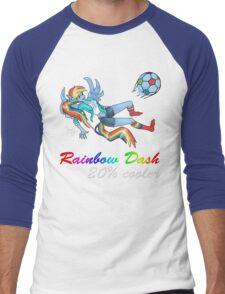 20% Cooler, Rainbow Dash Playing Soccer Men's Baseball ¾ T-Shirt