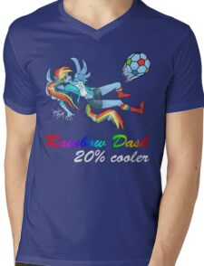 20% Cooler, Rainbow Dash Playing Soccer Mens V-Neck T-Shirt