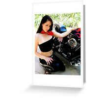 50s Biker Girl Greeting Card