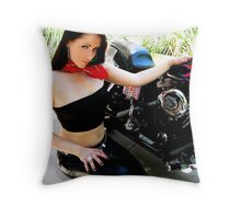 50s Biker Girl Throw Pillow