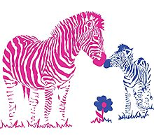 Mommy and Baby Zebra Photographic Print