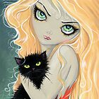 Big Eye Blonde Girl with Black Cat by Molly Harrison by Molly  Harrison