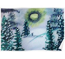 Bunnies in the snow , watercolor Poster