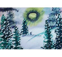 Bunnies in the snow , watercolor Photographic Print