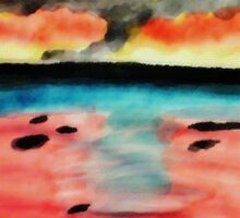 Abstract seascape, watercolor by Anna  Lewis, blind artist