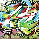 Abstract Graffiti fragment on the textured wall by yurix