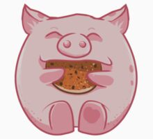 Pink piggy eating  a cookie by antico