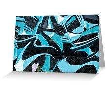 Abstract Blue Graffiti Greeting Card