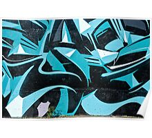Abstract Blue Graffiti Poster