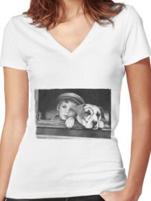 Dickey Moore and Petey Women's Fitted V-Neck T-Shirt