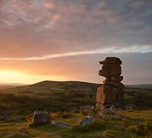 Sunset at Bowerman's Nose, South Dartmoor, Devon. by Martyn Hasluck