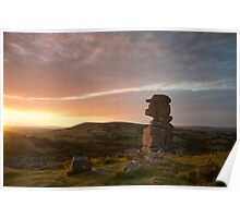 Sunset at Bowerman's Nose, South Dartmoor, Devon. Poster