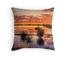 Sensational reflections at Rivoli Wetlands, near Beachport Throw Pillow