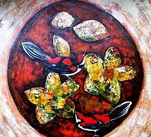 """Orange Circle, Red Birds. by Belinda """"BillyLee"""" NYE (Printmaker)"""