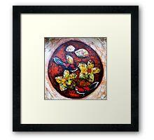 Orange Circle, Red Birds. Framed Print