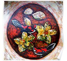 Orange Circle, Red Birds. Poster