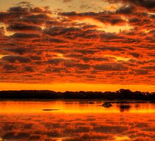 Clouds reflected brilliantly at Rivoli Wetlands, Beachport by Elana Bailey