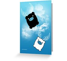 TWIN PIGS FLYING Greeting Card