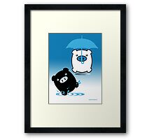 TWIN PIGS RAIN Framed Print