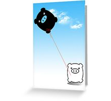 TWIN PIGS KITE Greeting Card