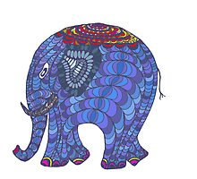 Colourful, patterned, doodle elephant by LyricalSixties