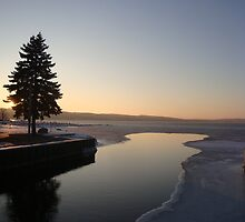 Winter Sunset on Lake Charlevoix- Boyne City, MIchigan by Melissa Delaney