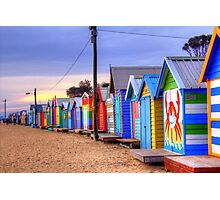 Bathing Boxes at Sunset Photographic Print