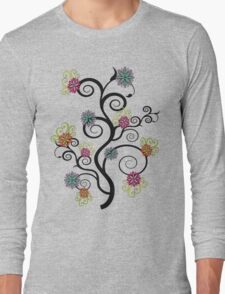 Swirly Flower Tree Long Sleeve T-Shirt