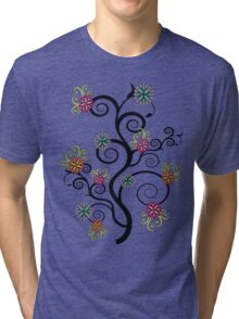 Swirly Flower Tree Tri-blend T-Shirt