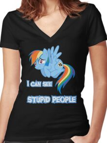 Stupid people Women's Fitted V-Neck T-Shirt