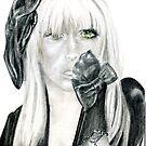 Lady Ga Ga, Graphite Study Portrait, by Alma Lee by Alma Lee