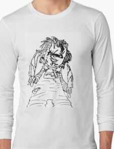 Black And White Chucky Child's Play Drawing Long Sleeve T-Shirt