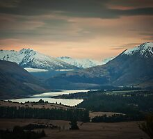 Dawn in the Hawea Valley, New Zealand by Neville Jones