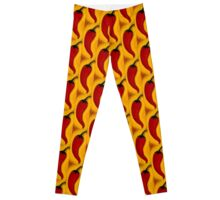 Wild Fire Red Chilli Pepper Painting Leggings