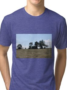 countryside landscape with hay Tri-blend T-Shirt