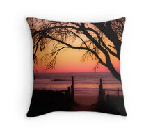 Beach Sunset with silhouette of tree Throw Pillow
