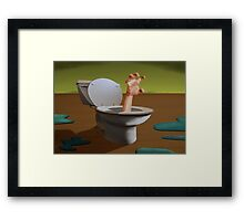 SURREALISM - Fear Of The Toilet Framed Print