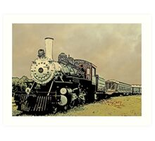Steam Engine 44 Cartoon Style Art Print