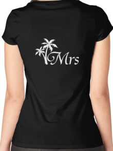 Mr and Mrs Tropical Beach Wedding Honeymoon Matching Women's Fitted Scoop T-Shirt