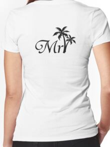 Mister Mr and Mrs Wedding Honeymoon Palm Tree Women's Fitted V-Neck T-Shirt