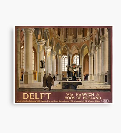 Delft Vintage Travel Poster Restored Canvas Print