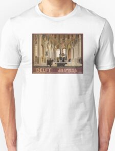 Delft Vintage Travel Poster Restored Unisex T-Shirt