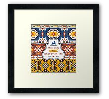 Seamless colorful tribal pattern Framed Print